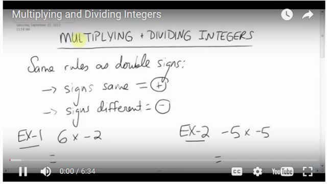 Math 8 Chapter 1 Multiplying and dividing integers
