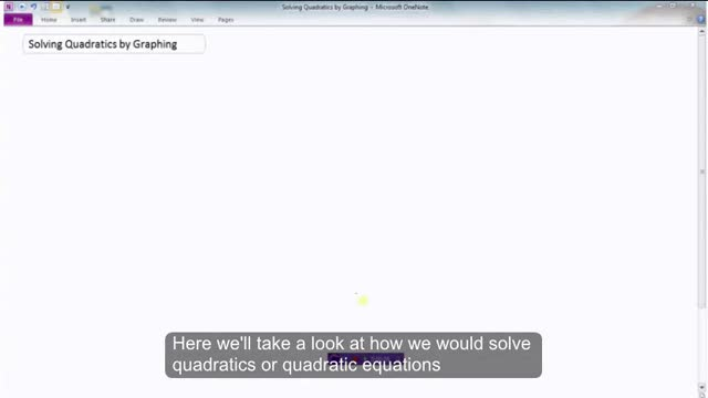 LG 15&16 Solving Quadratics by Graphing