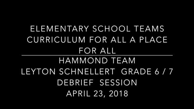 School Teams Hammond Elementary Leyton Schnellert April 23 Part 3 Debrief Session
