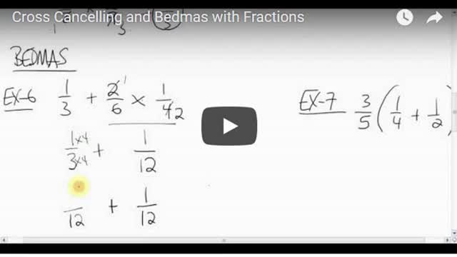 Math 8 Chapter 3.7 Cross Cancelling and BEDMAS
