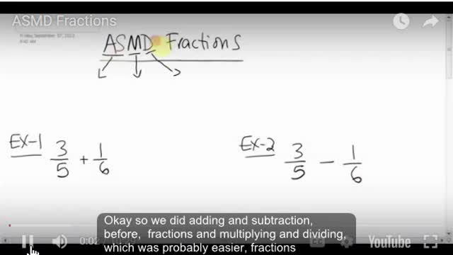 Math 8 Chapter 3.6 ASMD Fractions