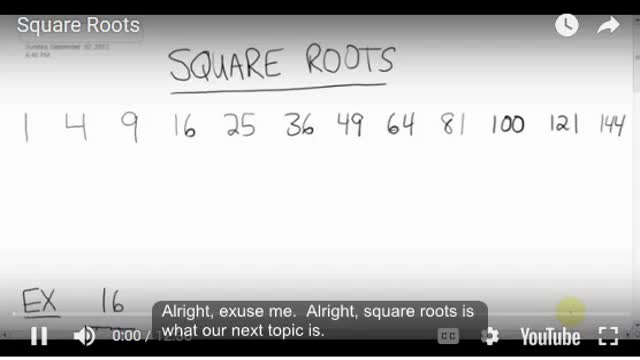 Math 8 Chapter 2 - 2.7 Square Roots