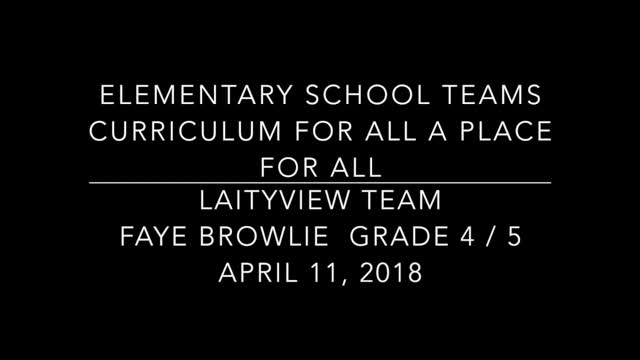 "School Teams Laityview Elementary Faye Brownlie ""Point of View"" April 11, 2018"
