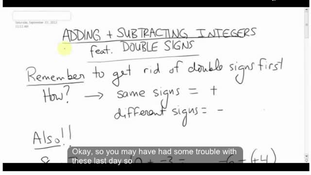 Math 8 Chapter 1 - More adding and subtracting integers